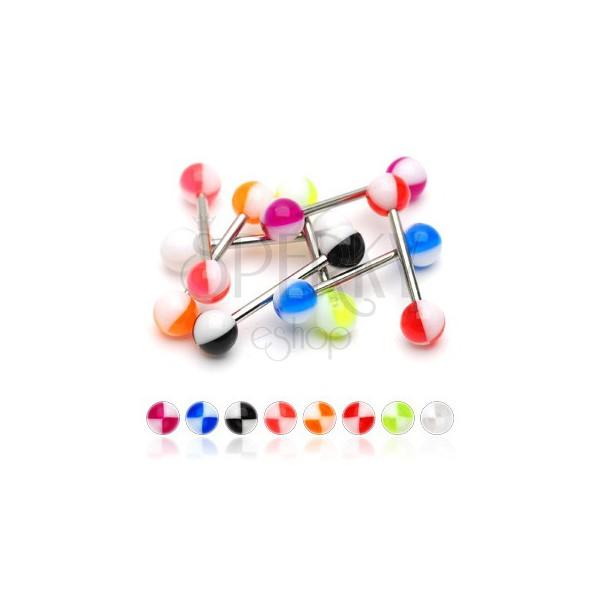 Piercing za jezik z večbarvnimi četrtinami