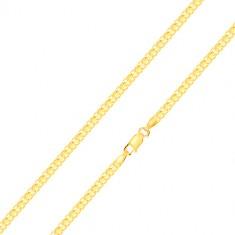 Verižica iz 14-k rumenega zlata - izmenjujoči se povezani členi, 450 mm