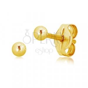 Uhani iz 14-k rumenega zlata – sijoča preprosta kroglica, 2,5 mm