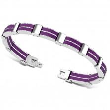 Dvobarvna jeklena zapestnica – večdelni členi, vijoličasti gumijasti pasovi