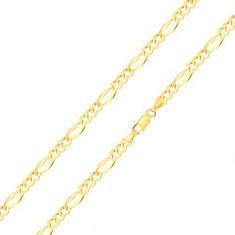 Zapestnica iz 14-k zlata  - podolgovati člen z razširjenimi robovi, trije ovalni členi, 210 mm