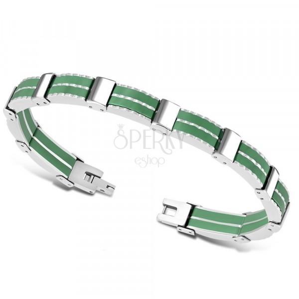 Dvobarvna jeklena zapestnica – večdelni členi, zeleni gumijasti pasovi