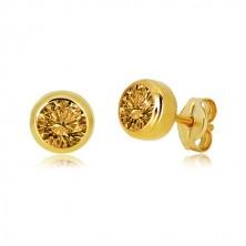 Uhani iz 14-k zlata – brušen svetlo rumen citrin, okrogla objemka, čepki