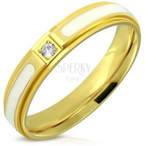 Jeklen prstan – sijoča zlata površina, bela glazura, cirkon, 4 mm