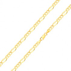 Zapestnica iz 14-k zlata  - trije ovalni členi, podolgovati člen z razširjenimi robovi, 180 mm
