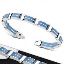 Dvobarvna jeklena zapestnica – večdelni členi, modri gumijasti pasovi