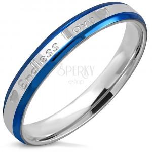 Dvobarven prstan iz nerjavečega jekla – prirezani robovi, napis Endless love, 3,5 mm