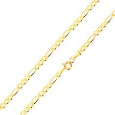 Zapestnica iz 14-k rumenega zlata - podolgovati člen, trije ovalni členi s paličico, 200 mm
