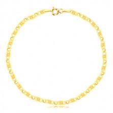 Zapestnica iz 14-k rumenega zlata  - ovalen člen, podolgovati člen z mrežico, 190 mm