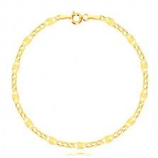 Zapestnica iz 14-k rumenega zlata  - podolgovati člen z žarkastimi linijami, trije ovalni členi, 190 mm