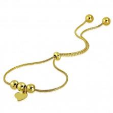 Jeklena zapestnica zlate barve – nesimetrično srce, kroglice, kačji vzorec