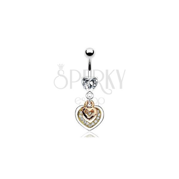 Piercing za popek - srca v bakreni, zlati in srebrni barvi, prozorni cirkoni