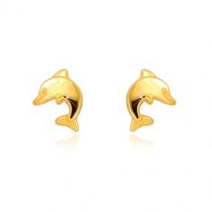 Uhani iz 9-k rumenega zlata – delfin v skoku, čepki