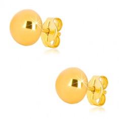 Uhani iz 9-k rumenega zlata – preprosta polkroglica, sijoča površina, 7 mm