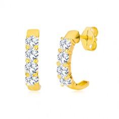 Uhani iz 9-k rumenega zlata – polkrogi z okroglimi prozornimi cirkoni
