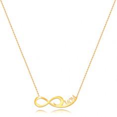 Ogrlica iz 14-k rumenega zlata  - tanka verižica, simbol neskončnosti, napis MOM