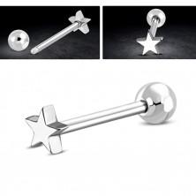 Jekleni piercing za uho – kroglica in zvezdica srebrne barve