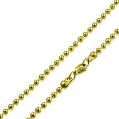 Jeklena verižica zlate barve – kroglice, ločene s kratkimi paličicami, 2 mm