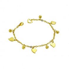 Verižica iz nerjavečega jekla zlate barve - nesimetrični srčki in kroglice