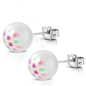 Jekleni uhani - bel umetni biser,barvne zvezde