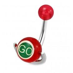 """Jeklen piercing za popek - rdeča kroglica, valj z napisoma """"GO"""" in """"STOP"""""""
