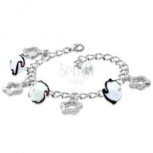 Zapestnica srebrne barve - sijoča verižica, obrisi cveta, cvetovi z valovi