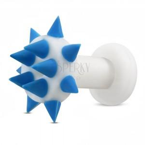 Silikonski tunel za uho - modre konice na krogu