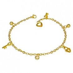 Jeklena verižica zlate barve – koralde, ključavnica, ključ