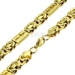 Jeklena verižica zlate  barve - bizantinski vzorec, latinski križi