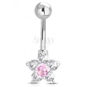Jeklen piercing za popek – kroglica, rožnato-prozoren cvet