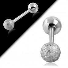 Jeklen piercing za uho – peskana kroglica srebrne barve, 16 mm