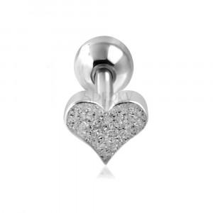 Jeklen piercing za uho - peskano srce in kroglica srebrne barve