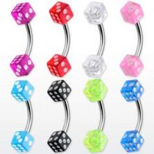 Zavit piercing za obrvi - barvni igralni kocki