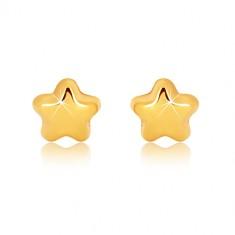 Uhani iz 9-k rumenega zlata – sijoča peterokraka zvezda, čepki