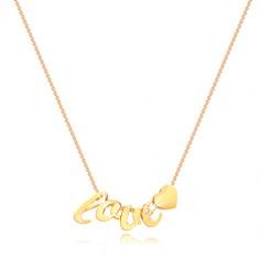 Ogrlica iz 9-k rumenega zlata -  tanka verižica, črke l, o, v, e, srce