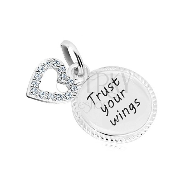 """Obesek iz srebra 925 - krog z napisom """"Trust your wings"""", obris srca s cirkoni"""