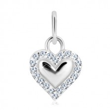 Obesek iz srebra 925 – sijoče srce, obris iz prozornih cirkonov