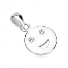Obesek iz srebra 925 – sijoč smejko z lesketavimi cirkonskimi očmi