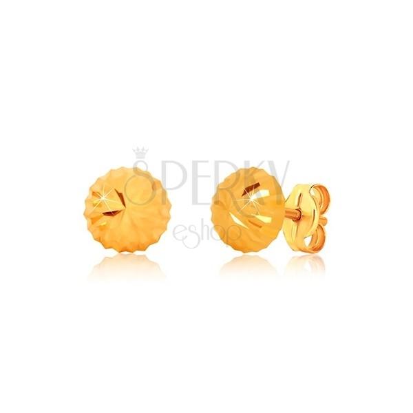 Uhani iz 9-k rumenega zlata, cvetlični motiv – lesketava glavica z zarezami, čepki