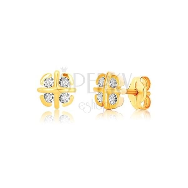 Uhani iz 9-k rumenega zlata – cvet s prekrižanimi linijami in loki, čepki