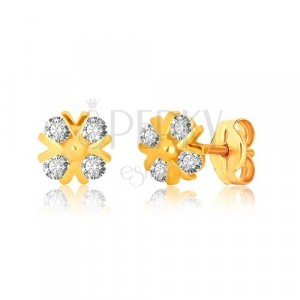 Uhani iz 9-k rumenega zlata – cirkonski cvet s sijočimi črkami V in kroglico, čepki