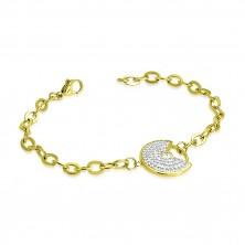 Jeklena zapestnica zlate barve – okrasni krog z zarezo, lesketavi prozorni cirkoni
