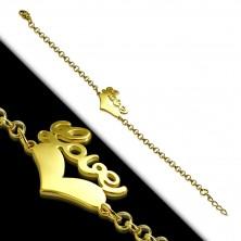 Jeklena zapestnica zlate barve – simetrično srce in napis Love, verižica iz okroglih členov