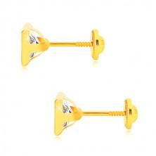 Uhani iz 14-k rumenega zlata - lesketav kvadratast cirkon v sijoči objemki, čepki, ki se privijejo, 6 mm