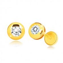 Uhani iz 14-k rumenega zlata – sijoč krog z okroglim prozornim cirkonom