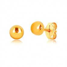 Uhani iz 9-k rumenega zlata  - sijoč krog, čepki