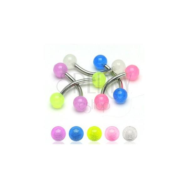 Zavit piercing za obrvi - majhne prosojne okrogle bunkice 3 mm
