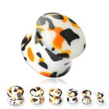 Bel vstavek za uho s črnimi in oranžnimi packami