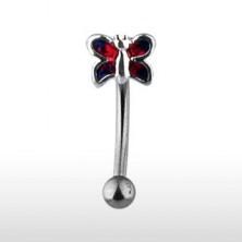 Piercing za obrvi - metulj v rdečem odtenku