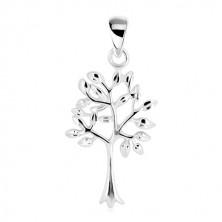 Obesek – drevo življenja, ozko deblo z razvejano krošnjo, srebro 925
